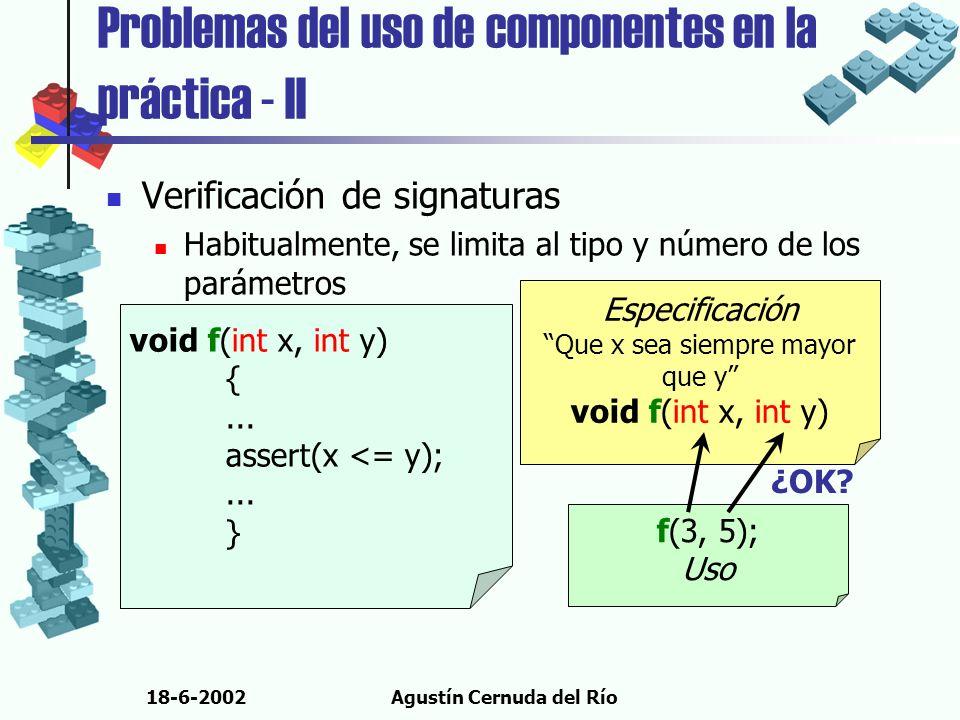 18-6-2002Agustín Cernuda del Río Problemas del uso de componentes en la práctica - II Verificación de signaturas Habitualmente, se limita al tipo y nú