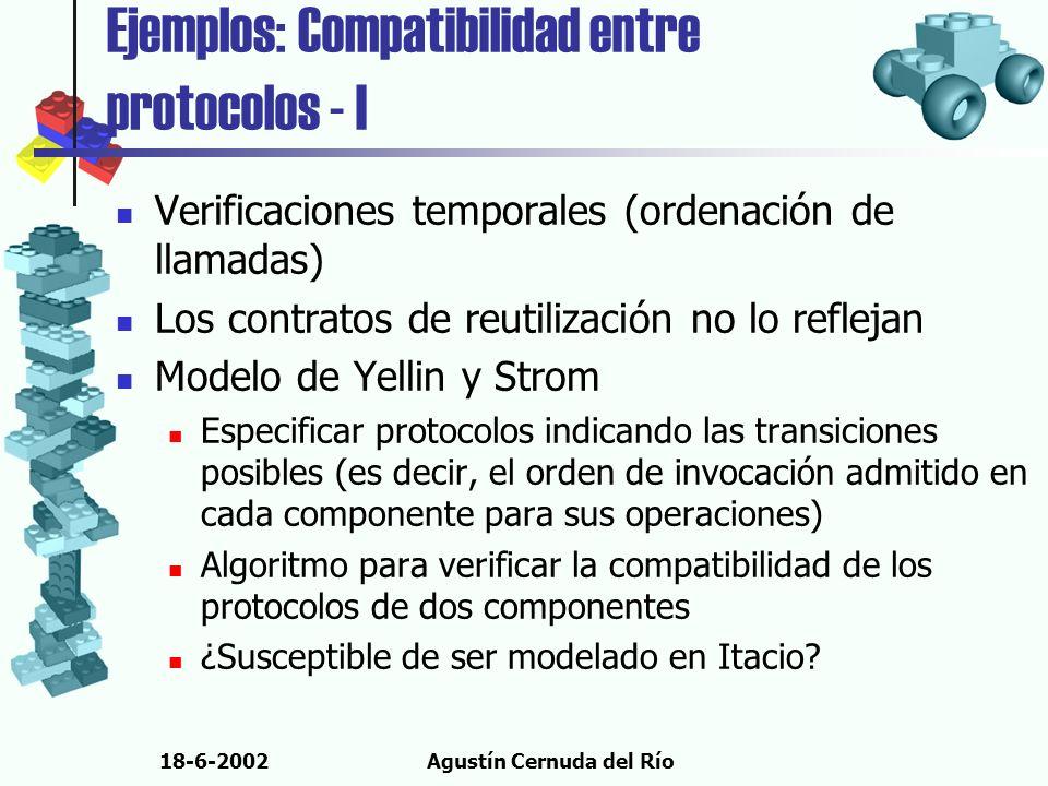 18-6-2002Agustín Cernuda del Río Ejemplos: Compatibilidad entre protocolos - I Verificaciones temporales (ordenación de llamadas) Los contratos de reu