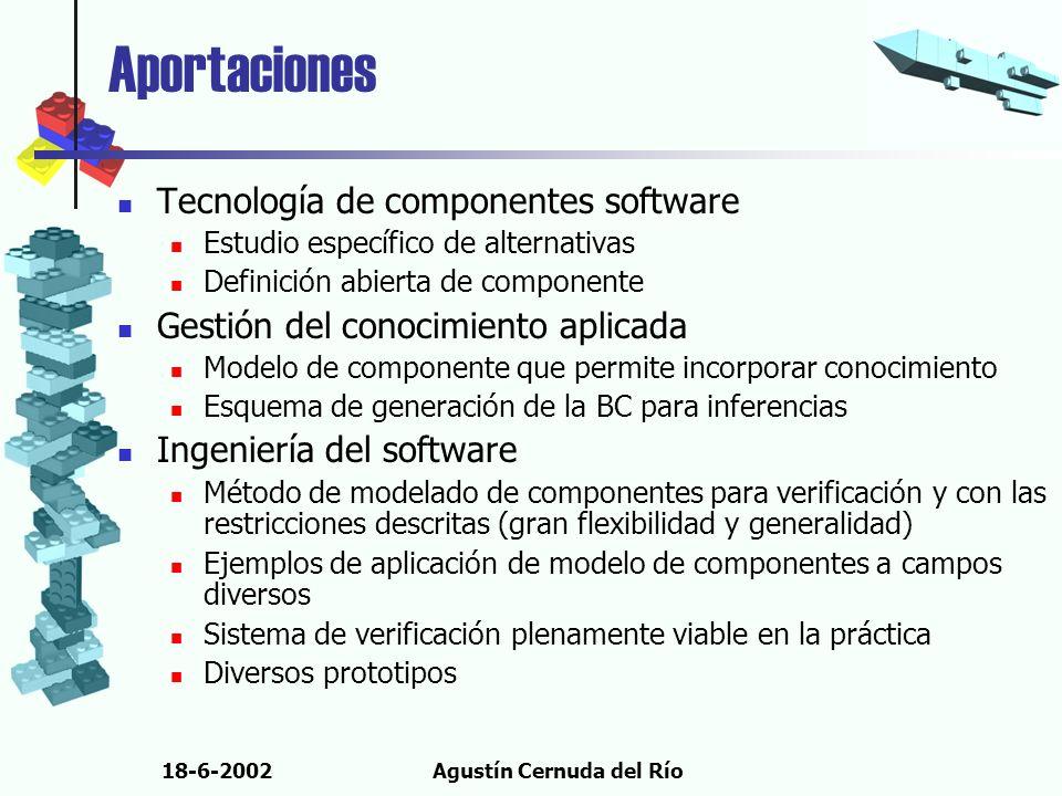 18-6-2002Agustín Cernuda del Río Aportaciones Tecnología de componentes software Estudio específico de alternativas Definición abierta de componente G