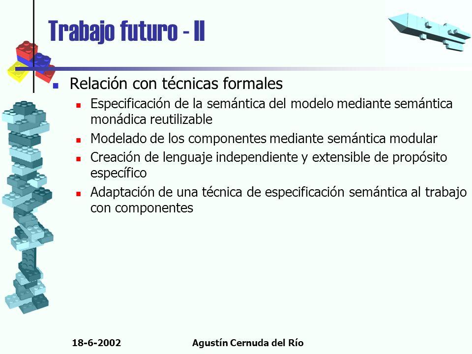 18-6-2002Agustín Cernuda del Río Trabajo futuro - II Relación con técnicas formales Especificación de la semántica del modelo mediante semántica monád