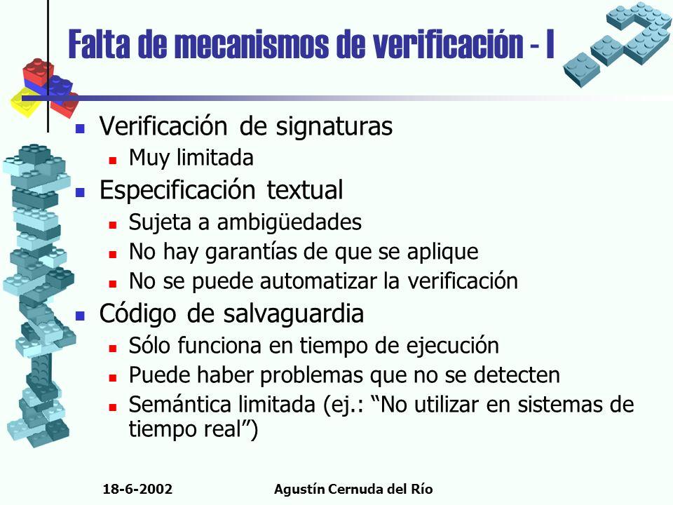 18-6-2002Agustín Cernuda del Río Falta de mecanismos de verificación - I Verificación de signaturas Muy limitada Especificación textual Sujeta a ambig