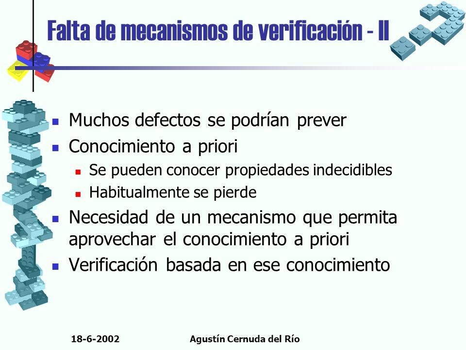 18-6-2002Agustín Cernuda del Río Falta de mecanismos de verificación - II Muchos defectos se podrían prever Conocimiento a priori Se pueden conocer pr