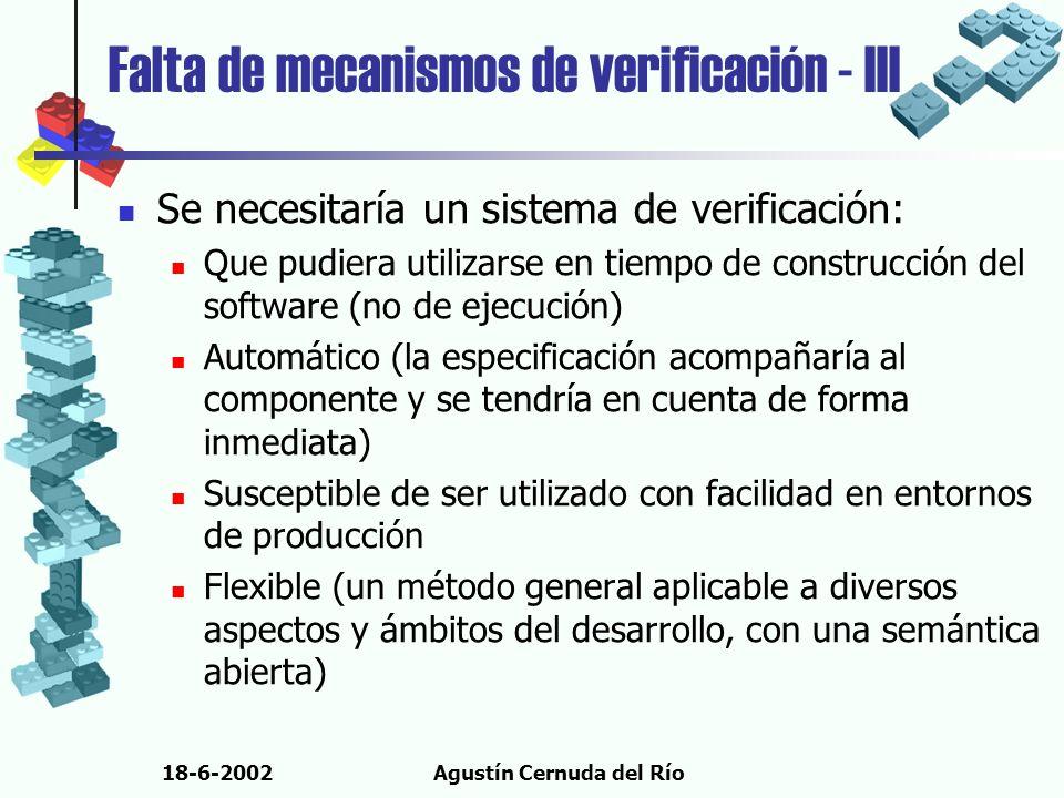 18-6-2002Agustín Cernuda del Río Falta de mecanismos de verificación - III Se necesitaría un sistema de verificación: Que pudiera utilizarse en tiempo