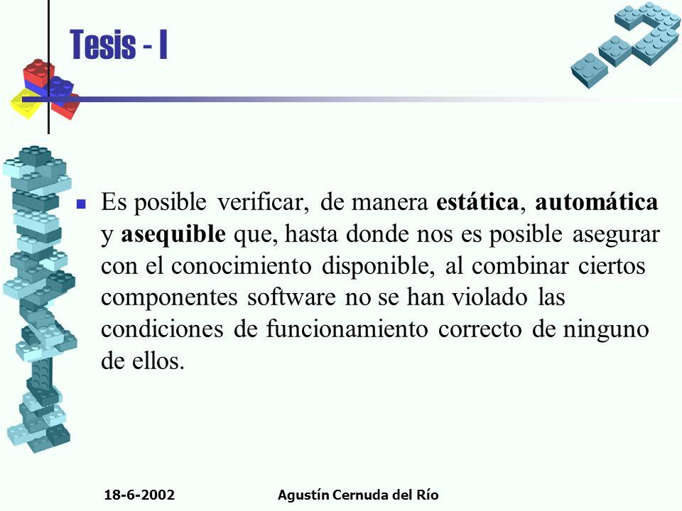 18-6-2002Agustín Cernuda del Río Tesis - I Es posible verificar, de manera estática, automática y asequible que, hasta donde nos es posible asegurar c
