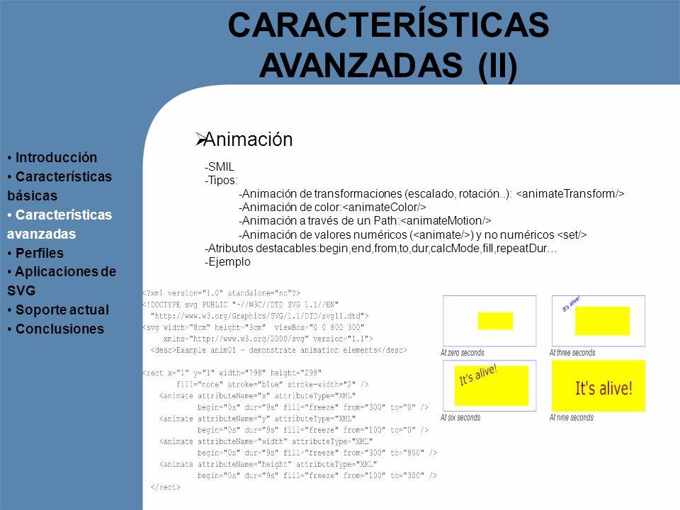 CARACTERÍSTICAS AVANZADAS (II) Animación Introducción Características básicas Características avanzadas Perfiles Aplicaciones de SVG Soporte actual Co