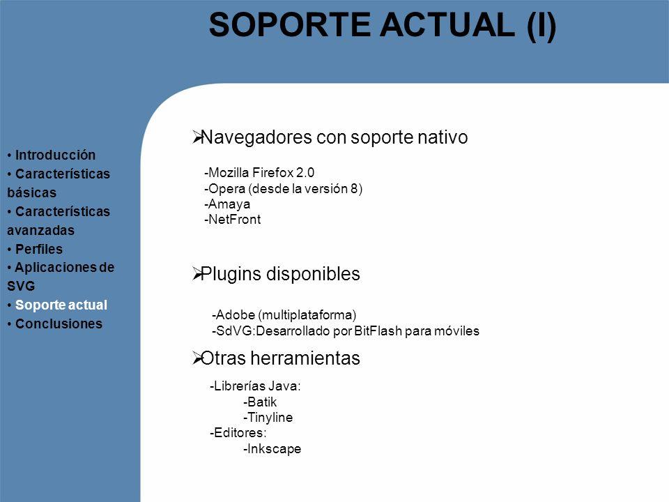 SOPORTE ACTUAL (I) Navegadores con soporte nativo Introducción Características básicas Características avanzadas Perfiles Aplicaciones de SVG Soporte