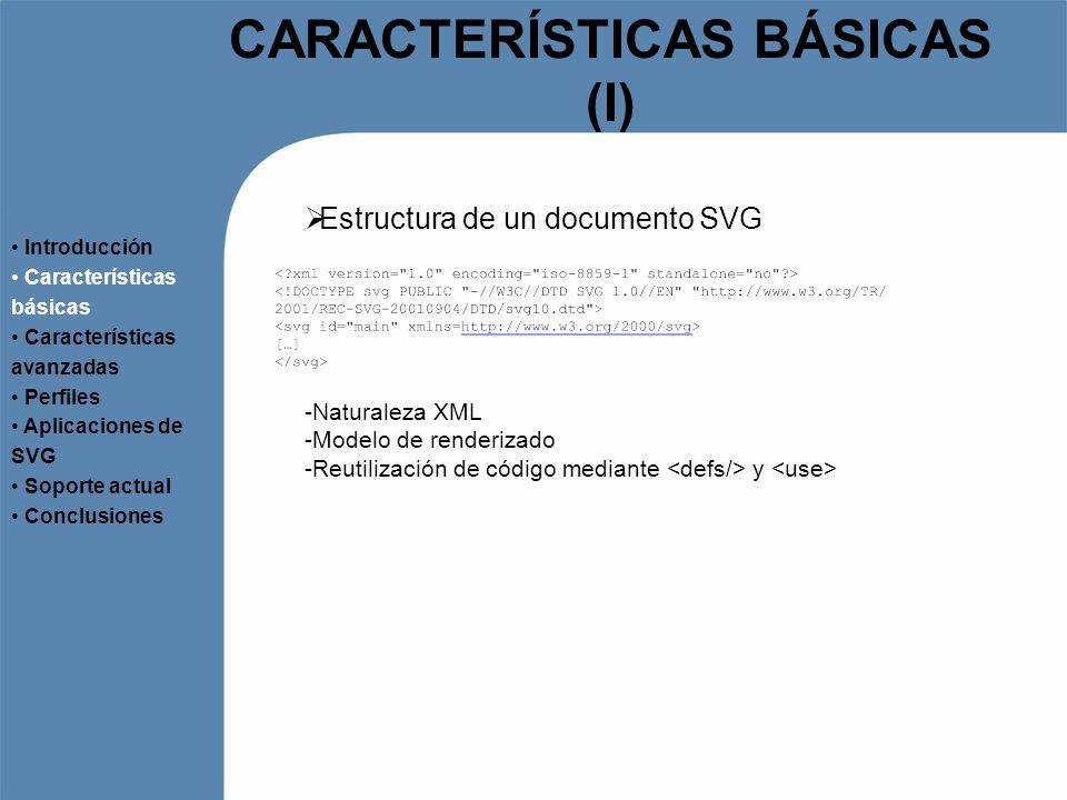 CARACTERÍSTICAS BÁSICAS (I) Estructura de un documento SVG Introducción Características básicas Características avanzadas Perfiles Aplicaciones de SVG