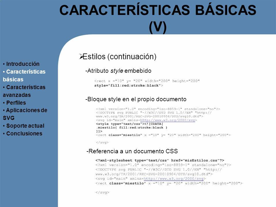 CARACTERÍSTICAS BÁSICAS (VI) Efectos Introducción Características básicas Características avanzadas Perfiles Aplicaciones de SVG Soporte actual Conclusiones -Gradientes -Para los atributos fill y stroke - -Filtros - -Efectos de brillo, color, iluminación, efectos morfológicos… -Clipping Path -