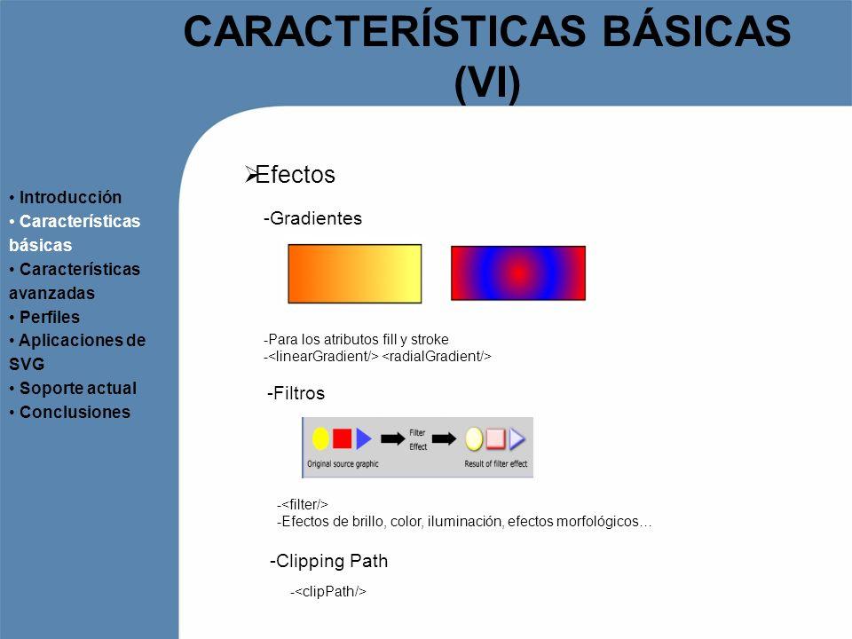 CARACTERÍSTICAS BÁSICAS (VI) Efectos Introducción Características básicas Características avanzadas Perfiles Aplicaciones de SVG Soporte actual Conclu