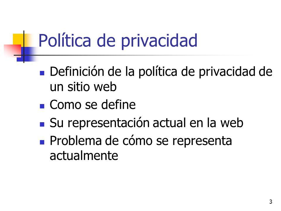 3 Política de privacidad Definición de la política de privacidad de un sitio web Como se define Su representación actual en la web Problema de cómo se