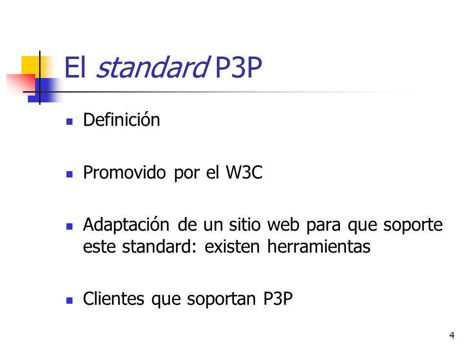 4 El standard P3P Definición Promovido por el W3C Adaptación de un sitio web para que soporte este standard: existen herramientas Clientes que soporta