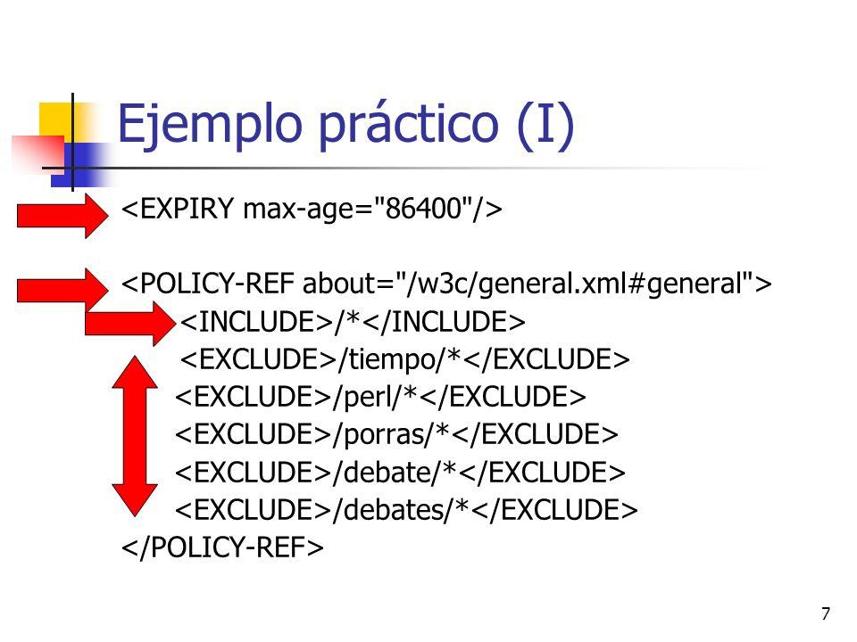 8 Ejemplo práctico (II) /medscape/* /tiempo/* /perl/* /debate/* /debates/* /charla/* /porras/*