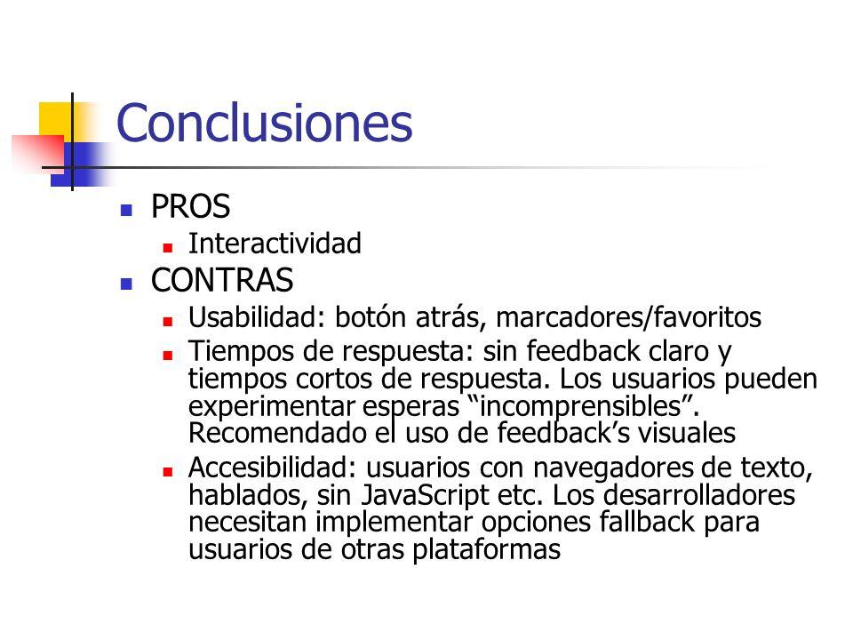 Conclusiones PROS Interactividad CONTRAS Usabilidad: botón atrás, marcadores/favoritos Tiempos de respuesta: sin feedback claro y tiempos cortos de respuesta.
