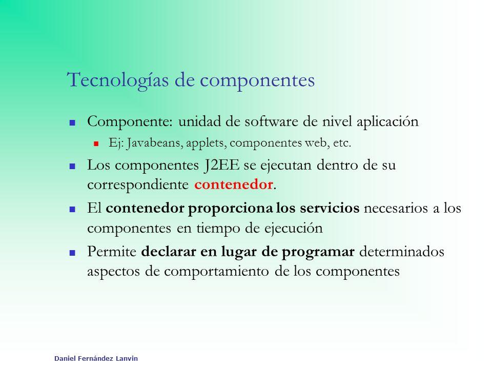 Daniel Fernández Lanvin Tecnologías de componentes Componente: unidad de software de nivel aplicación Ej: Javabeans, applets, componentes web, etc. Lo