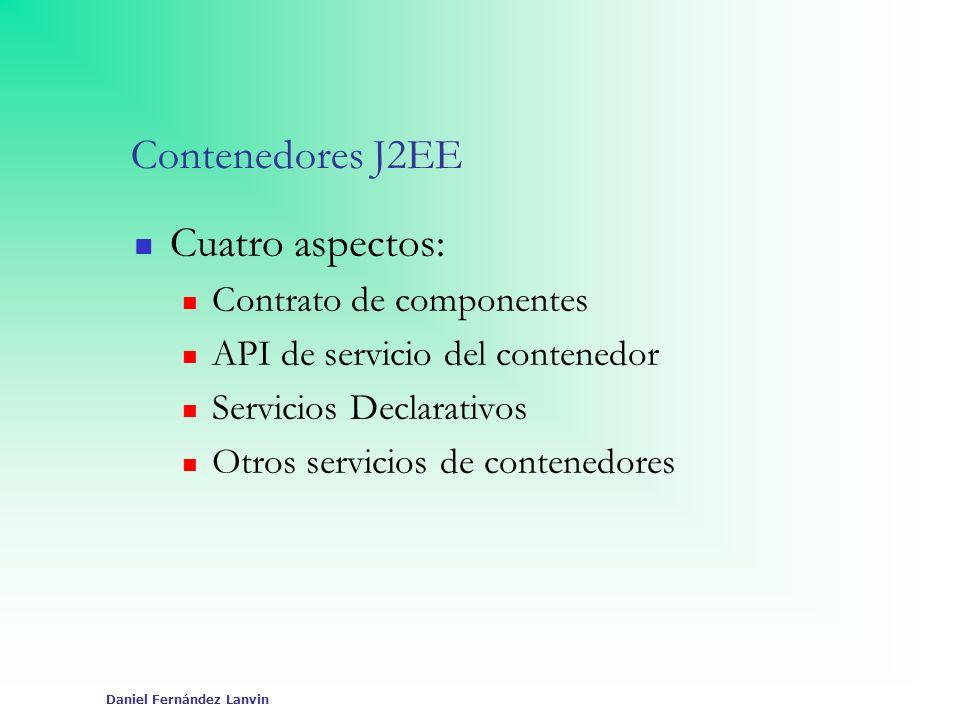 Daniel Fernández Lanvin Contenedores J2EE Cuatro aspectos: Contrato de componentes API de servicio del contenedor Servicios Declarativos Otros servici