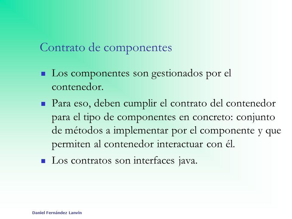 Daniel Fernández Lanvin Contrato de componentes Los componentes son gestionados por el contenedor. Para eso, deben cumplir el contrato del contenedor