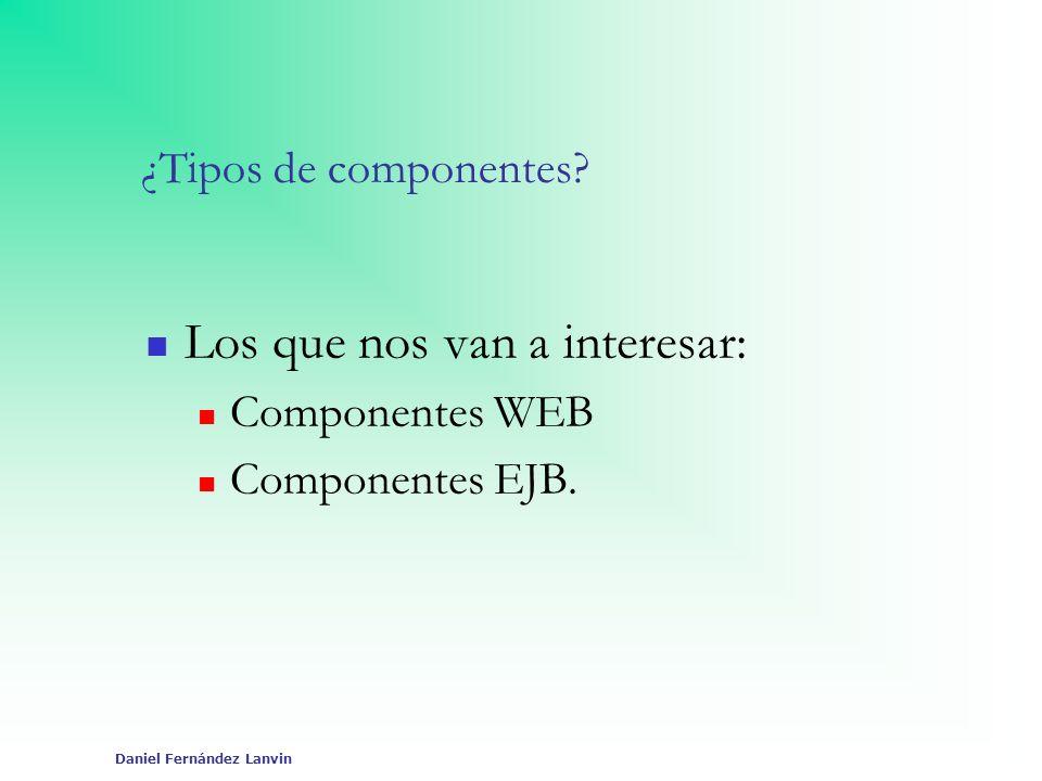 Daniel Fernández Lanvin ¿Tipos de componentes? Los que nos van a interesar: Componentes WEB Componentes EJB.