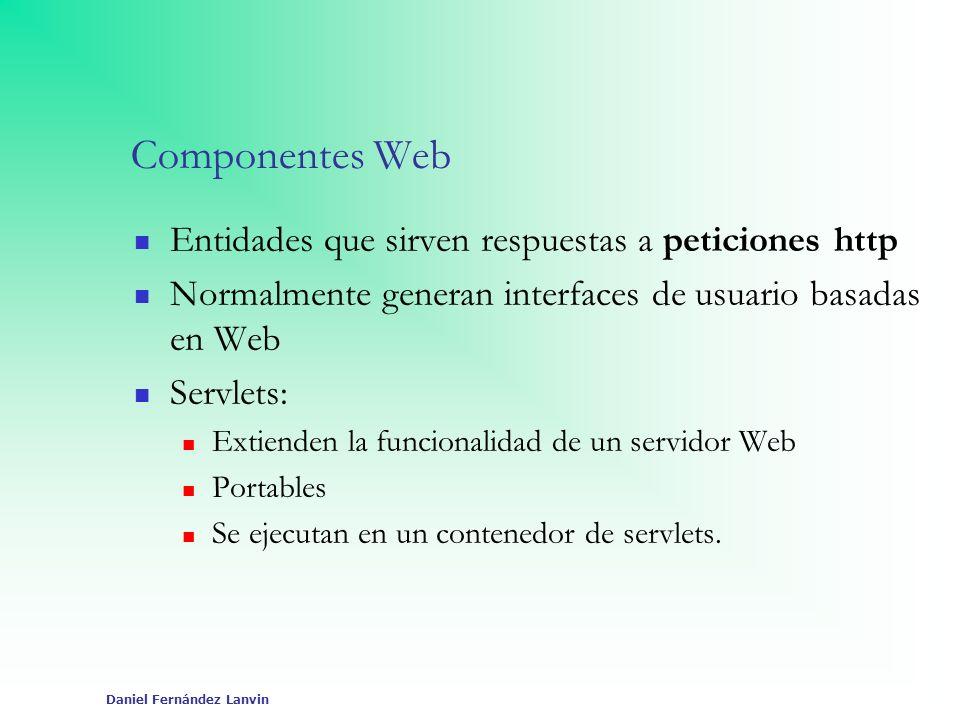 Daniel Fernández Lanvin Componentes Web Entidades que sirven respuestas a peticiones http Normalmente generan interfaces de usuario basadas en Web Ser
