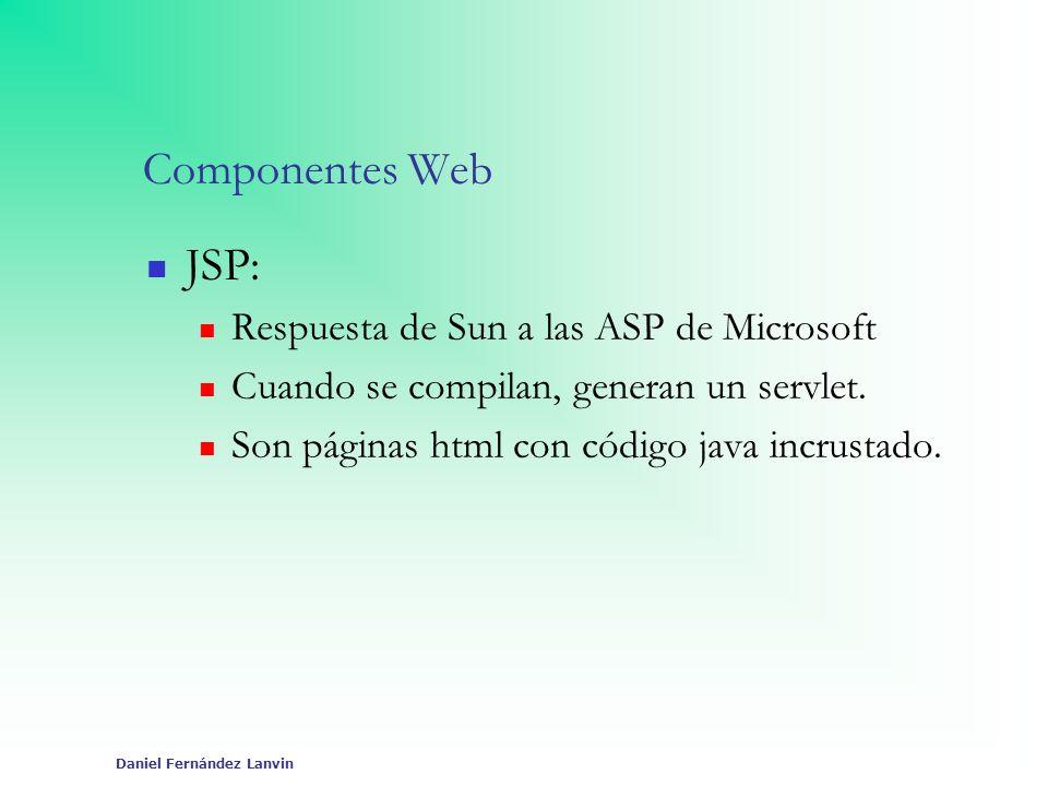 Daniel Fernández Lanvin Componentes Web JSP: Respuesta de Sun a las ASP de Microsoft Cuando se compilan, generan un servlet. Son páginas html con códi