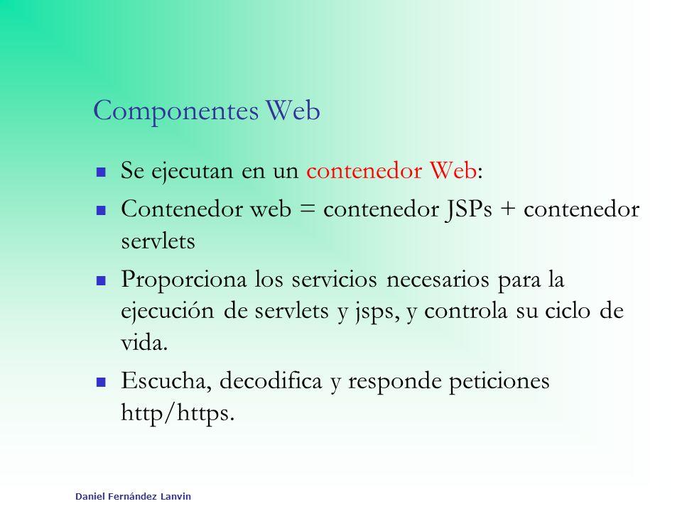 Daniel Fernández Lanvin Componentes Web Se ejecutan en un contenedor Web: Contenedor web = contenedor JSPs + contenedor servlets Proporciona los servi