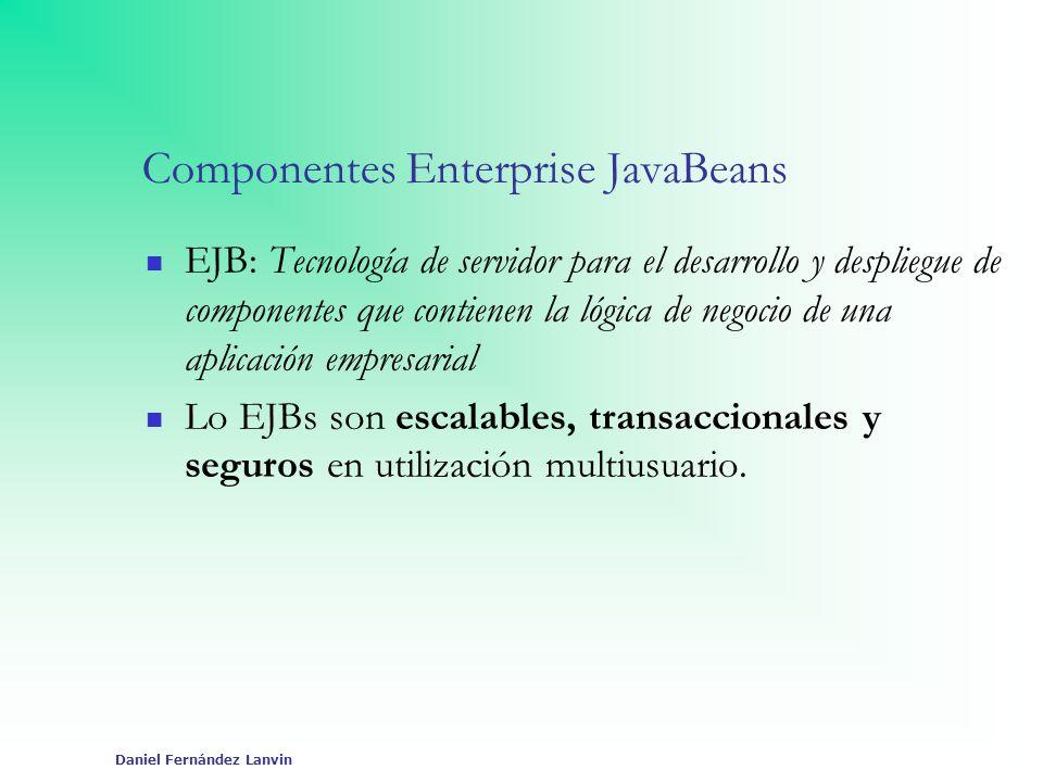 Daniel Fernández Lanvin Componentes Enterprise JavaBeans EJB: Tecnología de servidor para el desarrollo y despliegue de componentes que contienen la l