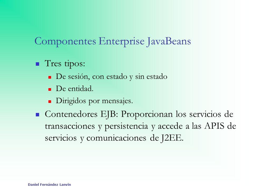 Daniel Fernández Lanvin Componentes Enterprise JavaBeans Tres tipos: De sesión, con estado y sin estado De entidad. Dirigidos por mensajes. Contenedor