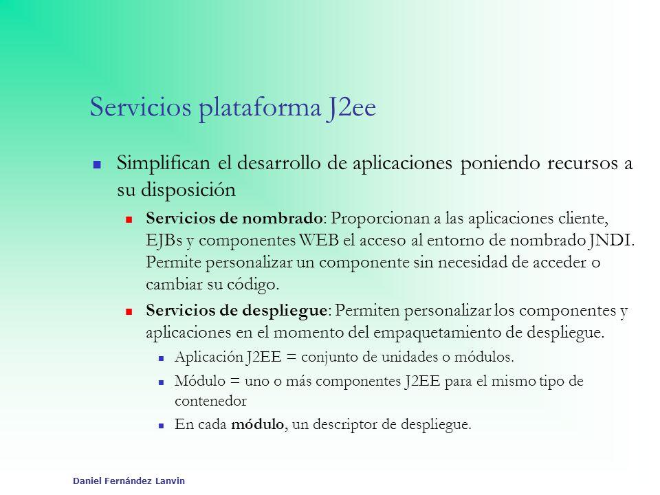 Daniel Fernández Lanvin Servicios plataforma J2ee Simplifican el desarrollo de aplicaciones poniendo recursos a su disposición Servicios de nombrado: