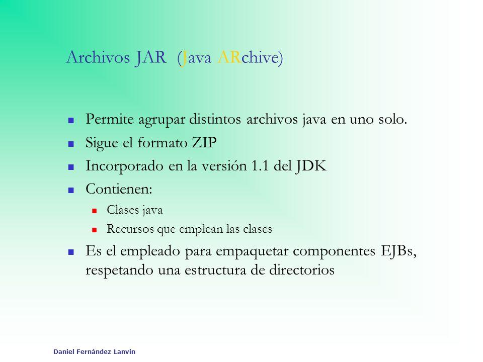 Daniel Fernández Lanvin Archivos JAR (Java ARchive) Permite agrupar distintos archivos java en uno solo. Sigue el formato ZIP Incorporado en la versió