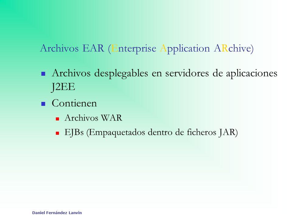 Daniel Fernández Lanvin Archivos EAR (Enterprise Application ARchive) Archivos desplegables en servidores de aplicaciones J2EE Contienen Archivos WAR