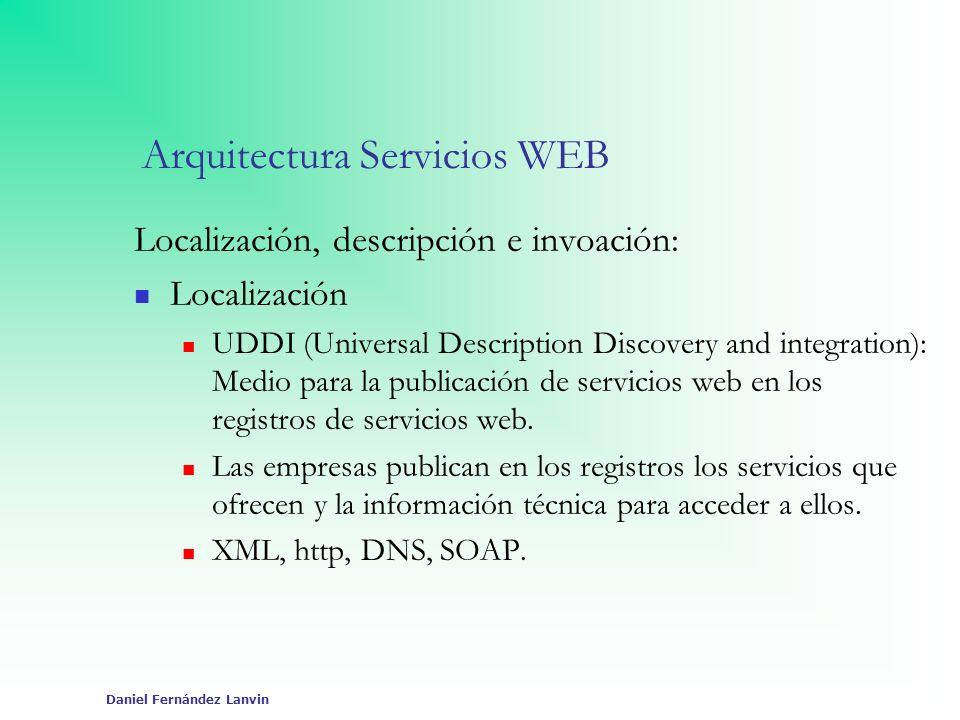 Daniel Fernández Lanvin Arquitectura Servicios WEB Localización, descripción e invoación: Localización UDDI (Universal Description Discovery and integ