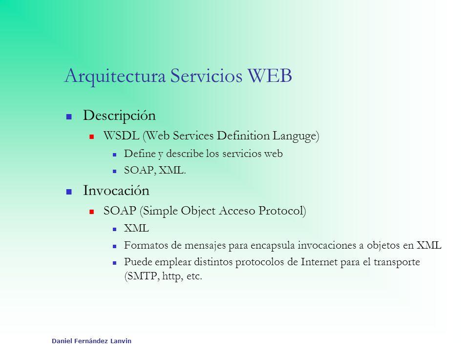 Daniel Fernández Lanvin Arquitectura Servicios WEB Descripción WSDL (Web Services Definition Languge) Define y describe los servicios web SOAP, XML. I