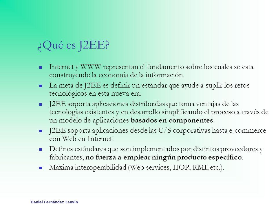 Daniel Fernández Lanvin Plataforma J2EE Conjunto de especificaciones y prácticas coordinadas que juntas permiten soluciones para el desarrollo, despliegue y gestión de aplicaciones multicapa centradas en servidor.