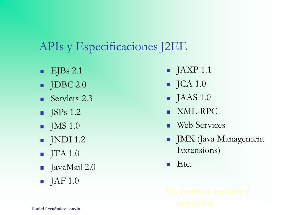 Daniel Fernández Lanvin APIs y Especificaciones J2EE EJBs 2.1 JDBC 2.0 Servlets 2.3 JSPs 1.2 JMS 1.0 JNDI 1.2 JTA 1.0 JavaMail 2.0 JAF 1.0 JAXP 1.1 JC