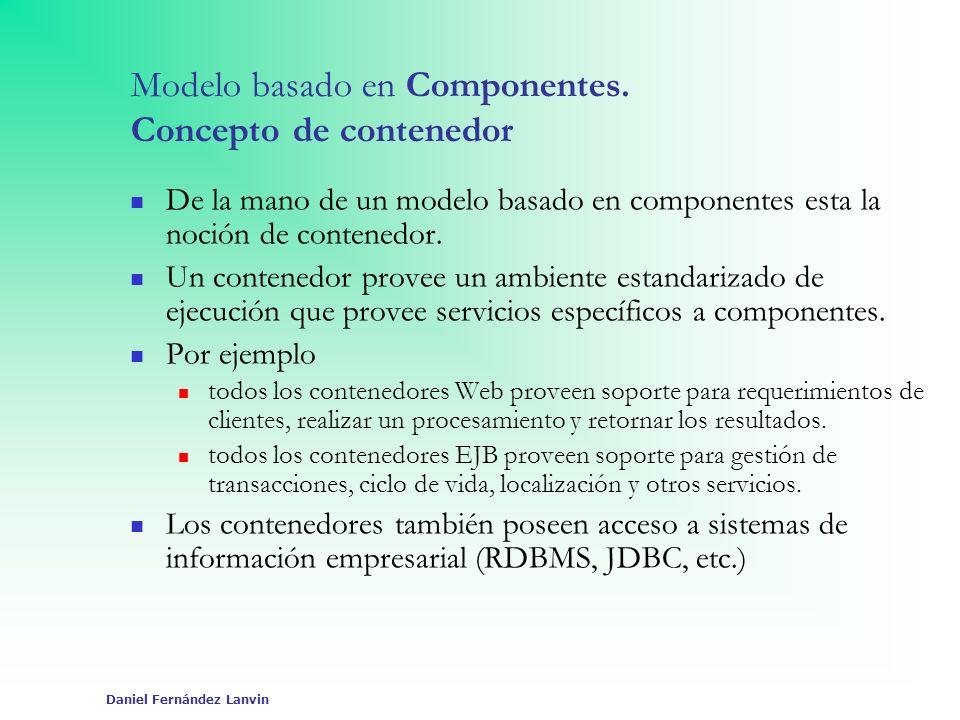 Daniel Fernández Lanvin Componentes Web Se ejecutan en un contenedor Web: Contenedor web = contenedor JSPs + contenedor servlets Proporciona los servicios necesarios para la ejecución de servlets y jsps, y controla su ciclo de vida.