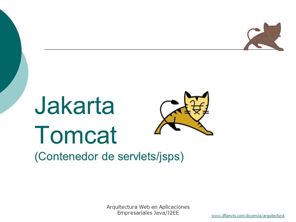 www.dflanvin.com/docencia/arquitectura Arquitectura Web en Aplicaciones Empresariales Java/J2EE Jakarta Tomcat (Contenedor de servlets/jsps)