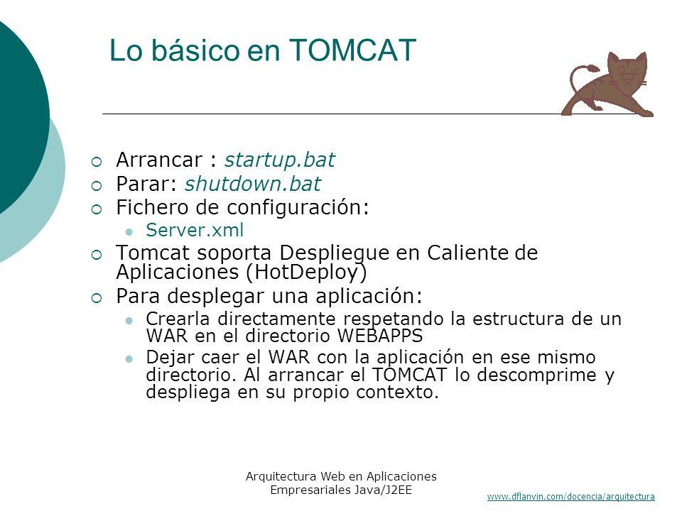 www.dflanvin.com/docencia/arquitectura Arquitectura Web en Aplicaciones Empresariales Java/J2EE Lo básico en TOMCAT Arrancar : startup.bat Parar: shut