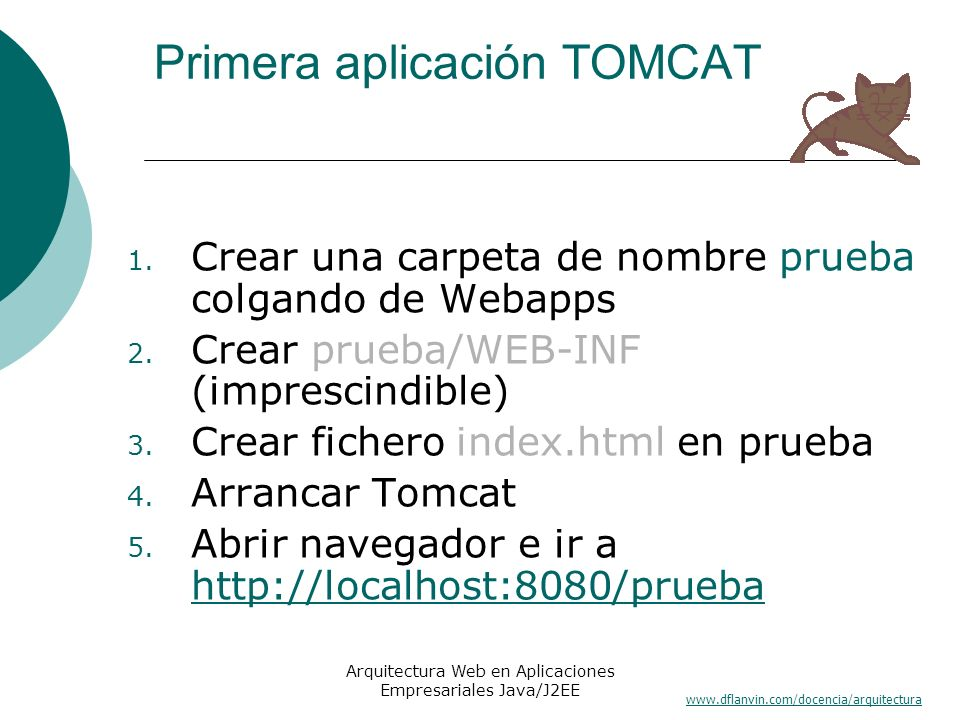www.dflanvin.com/docencia/arquitectura Arquitectura Web en Aplicaciones Empresariales Java/J2EE Referencias http://jakarta.apa che.org http://jakarta.apa che.org Mastering Tomcat Development (Willey)