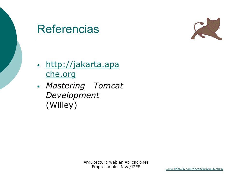 www.dflanvin.com/docencia/arquitectura Arquitectura Web en Aplicaciones Empresariales Java/J2EE Referencias http://jakarta.apa che.org http://jakarta.