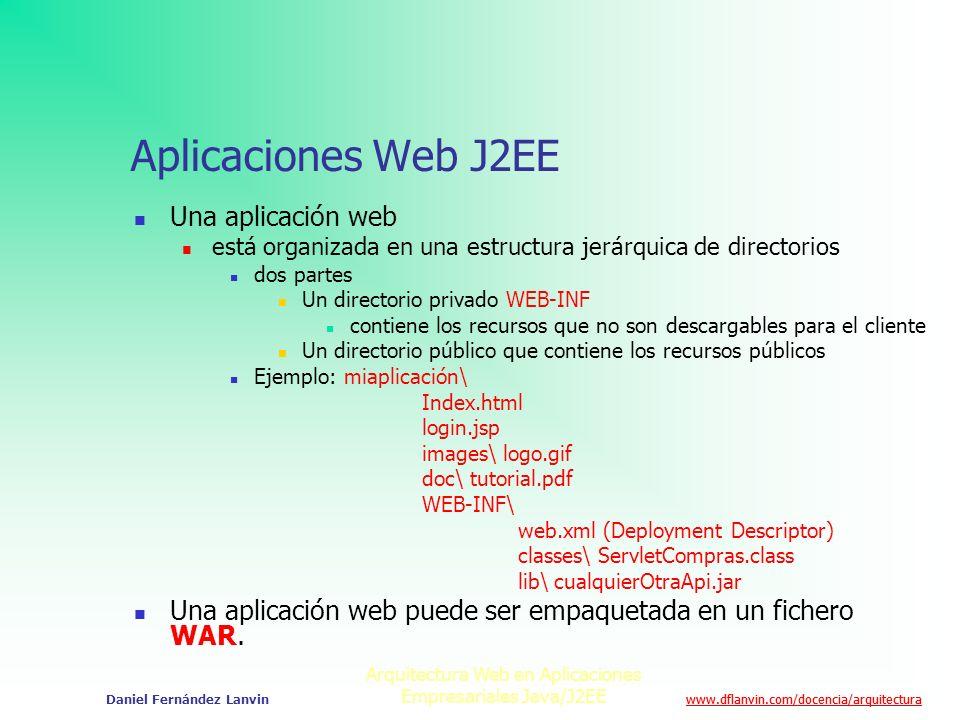 www.dflanvin.com/docencia/arquitectura Arquitectura Web en Aplicaciones Empresariales Java/J2EE Daniel Fernández Lanvin Aplicaciones Web J2EE Una apli