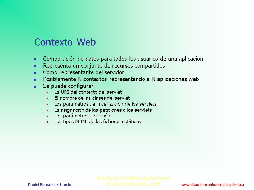 www.dflanvin.com/docencia/arquitectura Arquitectura Web en Aplicaciones Empresariales Java/J2EE Daniel Fernández Lanvin Contexto Web Compartición de d