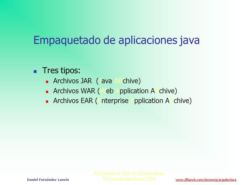 www.dflanvin.com/docencia/arquitectura Arquitectura Web en Aplicaciones Empresariales Java/J2EE Daniel Fernández Lanvin Empaquetado de aplicaciones ja