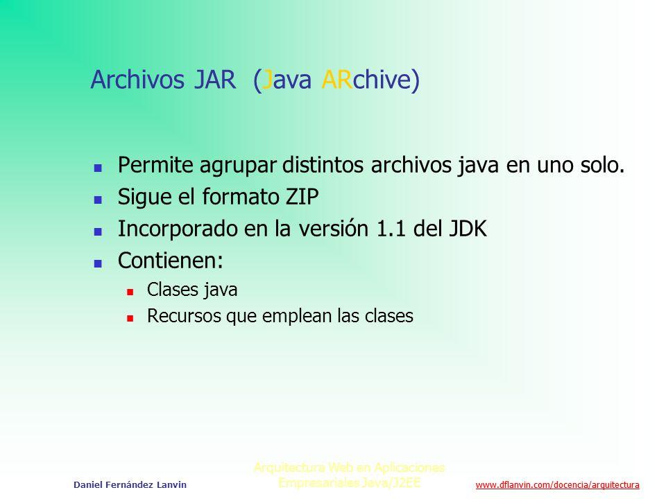 www.dflanvin.com/docencia/arquitectura Arquitectura Web en Aplicaciones Empresariales Java/J2EE Daniel Fernández Lanvin Archivos JAR (Java ARchive) Pe