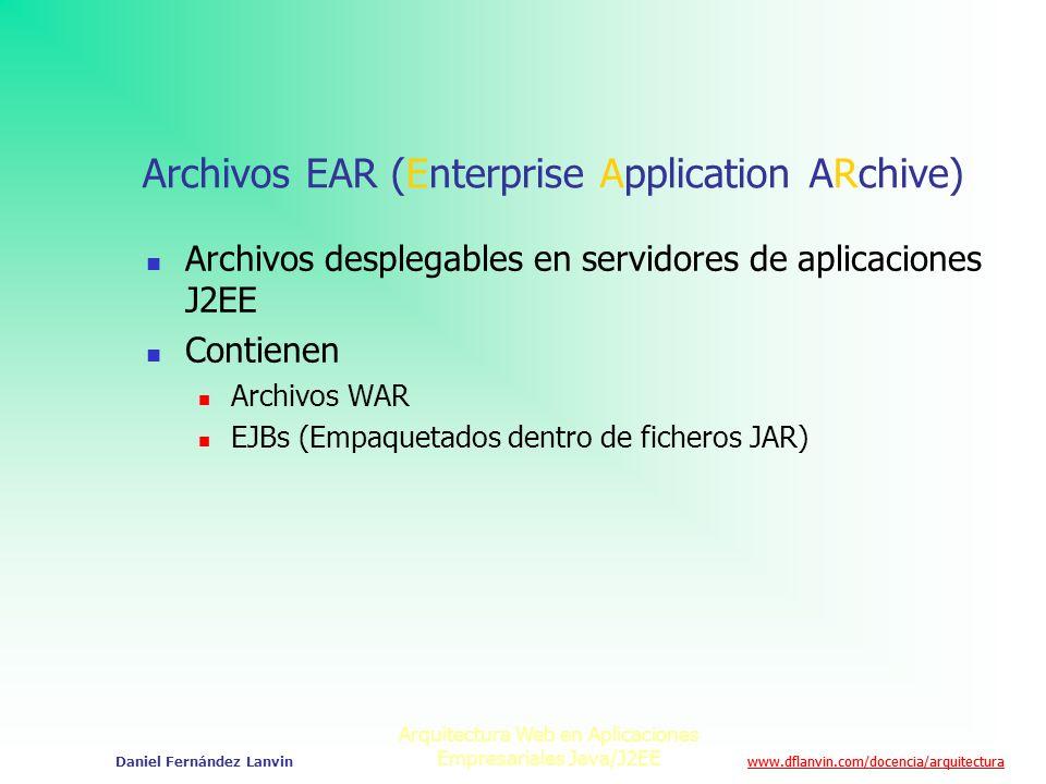 www.dflanvin.com/docencia/arquitectura Arquitectura Web en Aplicaciones Empresariales Java/J2EE Daniel Fernández Lanvin Archivos EAR (Enterprise Appli