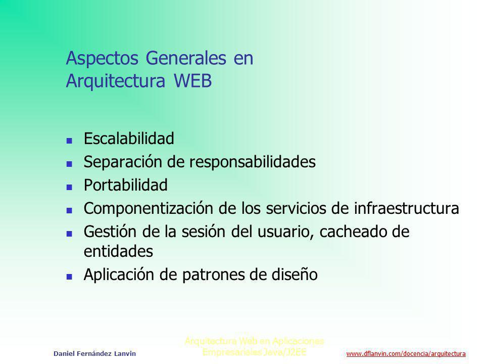 www.dflanvin.com/docencia/arquitectura Arquitectura Web en Aplicaciones Empresariales Java/J2EE Daniel Fernández Lanvin Aspectos Generales en Arquitec