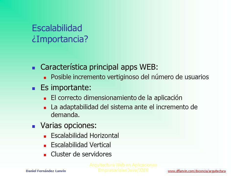 www.dflanvin.com/docencia/arquitectura Arquitectura Web en Aplicaciones Empresariales Java/J2EE Daniel Fernández Lanvin Escalabilidad ¿Importancia? Ca