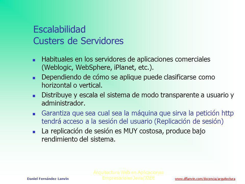 www.dflanvin.com/docencia/arquitectura Arquitectura Web en Aplicaciones Empresariales Java/J2EE Daniel Fernández Lanvin Escalabilidad Custers de Servi