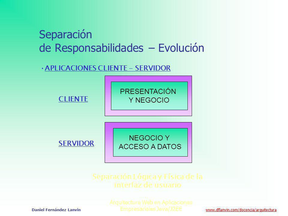 www.dflanvin.com/docencia/arquitectura Arquitectura Web en Aplicaciones Empresariales Java/J2EE Daniel Fernández Lanvin Separación de Responsabilidade