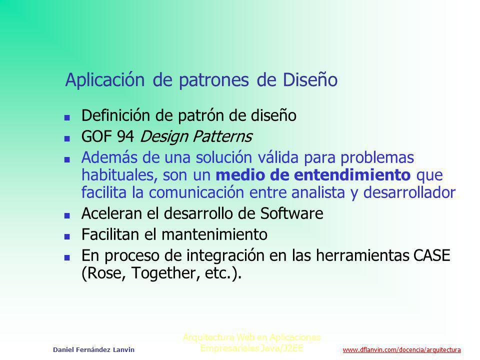 www.dflanvin.com/docencia/arquitectura Arquitectura Web en Aplicaciones Empresariales Java/J2EE Daniel Fernández Lanvin Aplicación de patrones de Dise