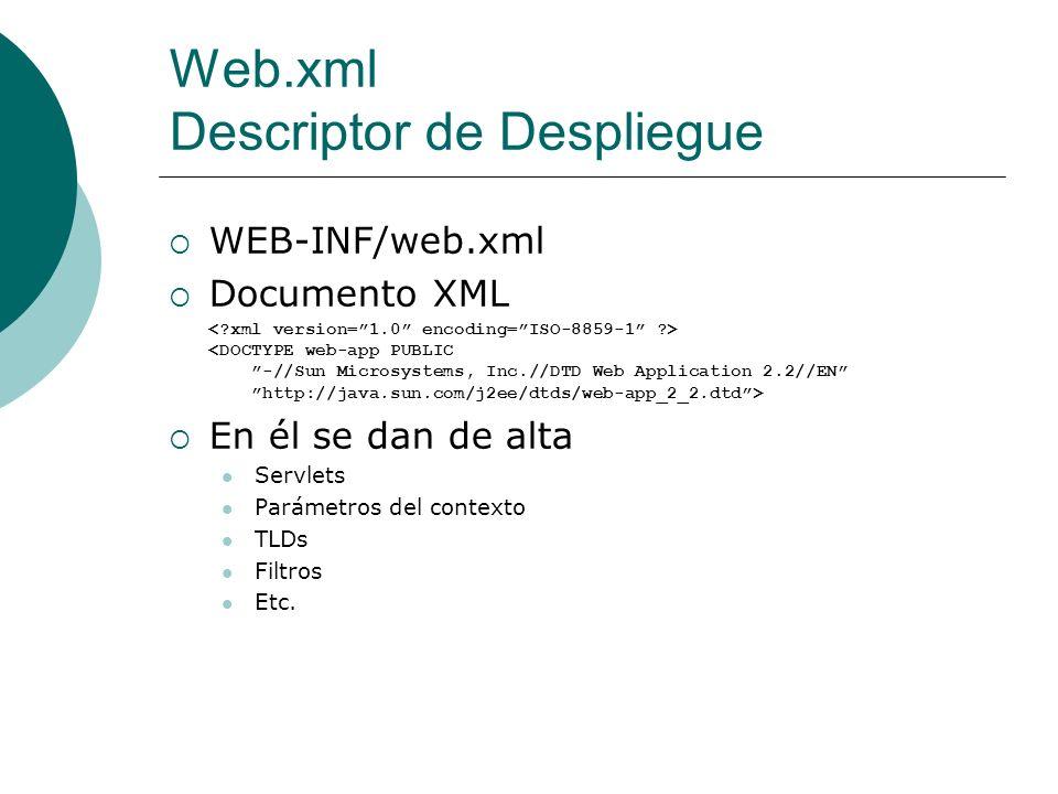 Web.xml Descriptor de Despliegue WEB-INF/web.xml Documento XML En él se dan de alta Servlets Parámetros del contexto TLDs Filtros Etc.