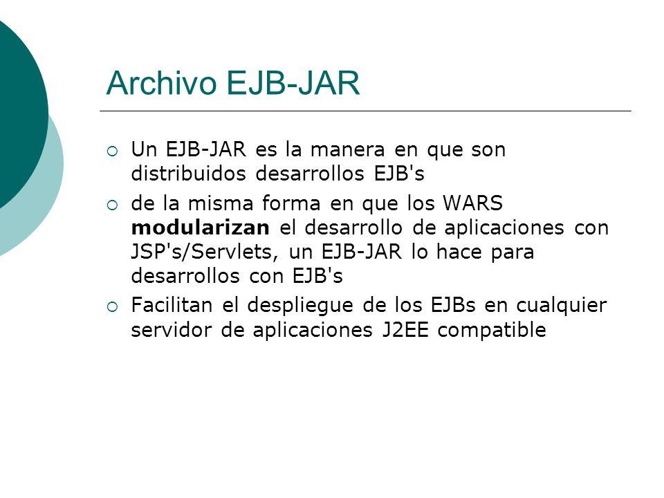 Archivo EJB-JAR Un EJB-JAR es la manera en que son distribuidos desarrollos EJB's de la misma forma en que los WARS modularizan el desarrollo de aplic